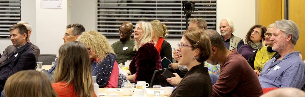 People at Psychosynthesis Coaching symposium held Nov 14th 2018 in London. All ages, a range of expressions from enthusiasm to humour.